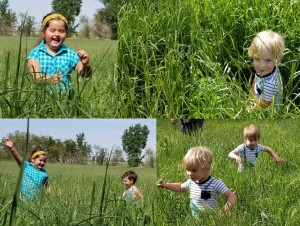 Kids in hay field collage cr